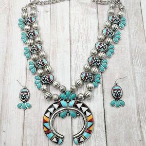 Colorful Aztec Squash Blossom Necklace Set